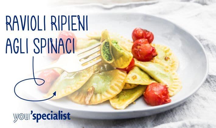 ricetta vegana: ravioli ripieni di spinaci
