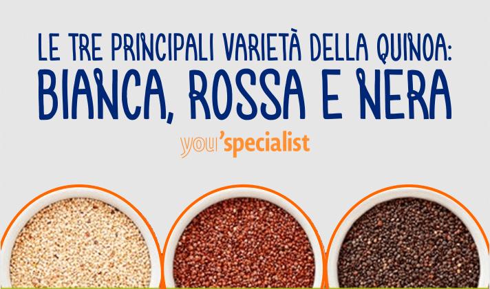 Le tre varietà dei semi di quinoa