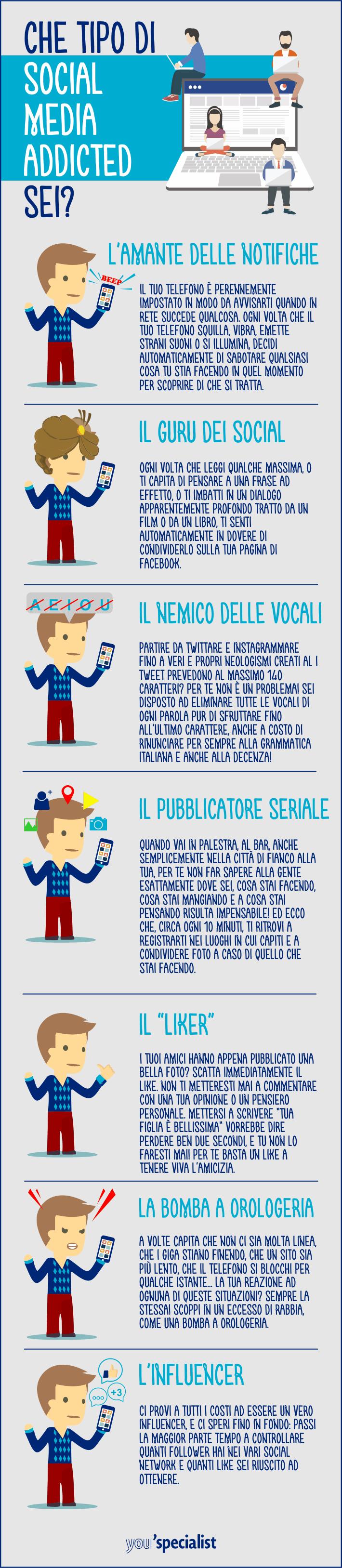 dipendenza da social media, infografica
