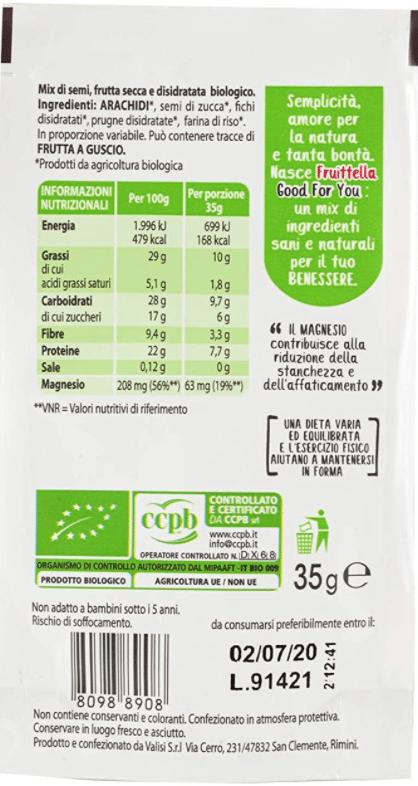 spuntini proteici mix frutta secca tabella nutrizionale